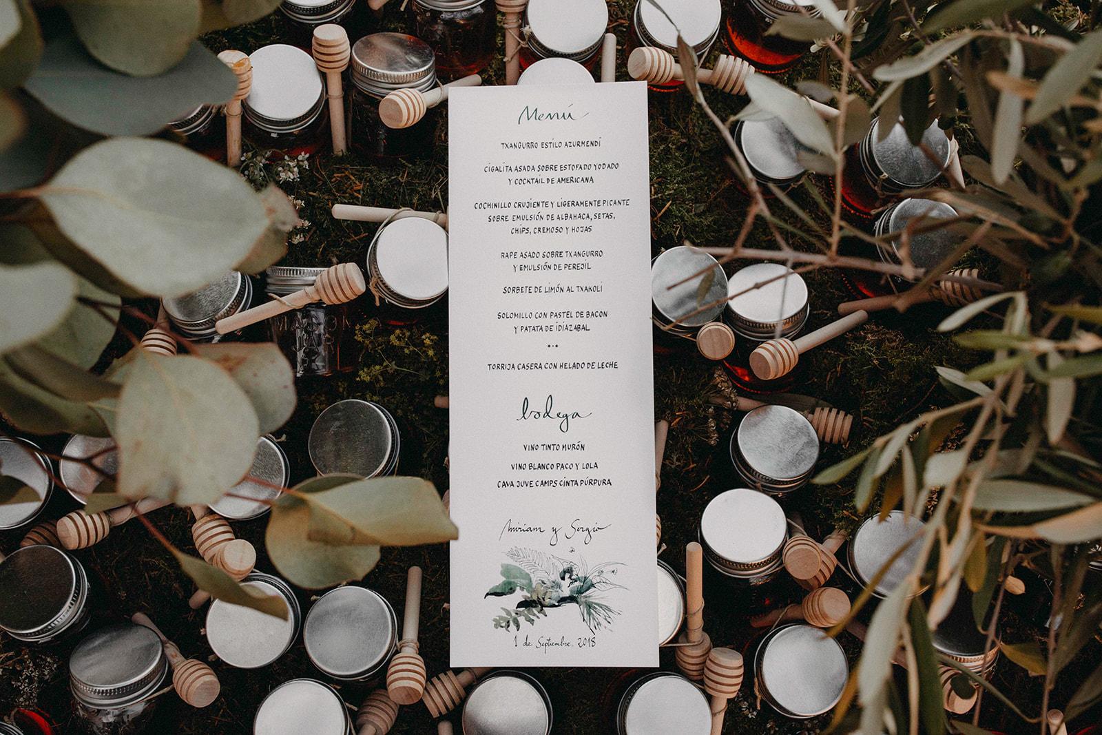 miel - regalos de bodas - menu -Itziar Ortuondo